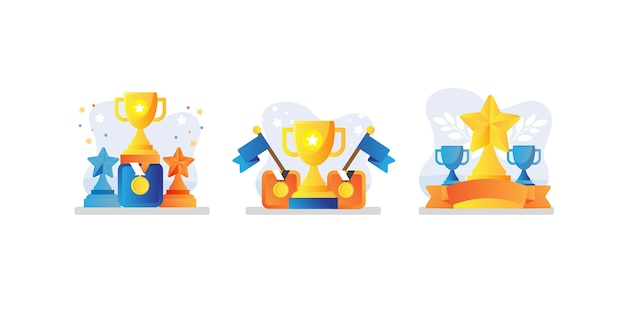 Conjunto de coleção de troféus e medalhas