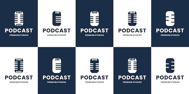 Conjunto de coleção de vetores de design de logotipo plano de podcast