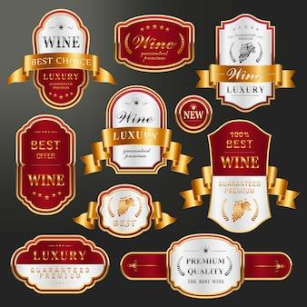 Conjunto de coleção elegante de rótulos dourados para vinhos premium