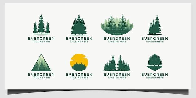 Conjunto de coleção evergreen pines spruce cedar trees logo design