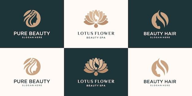 Conjunto de coleção feminina luxo beleza rosto mulheres flor de lótus e design de logotipo de folha