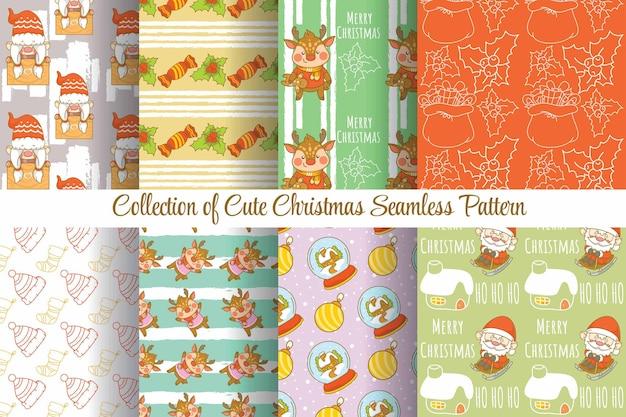Conjunto de coleção fofo natal padrão sem emenda
