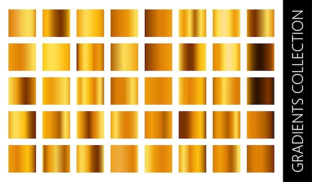 Conjunto de coleção gradiente de metal dourado e textura de folha de ouro.