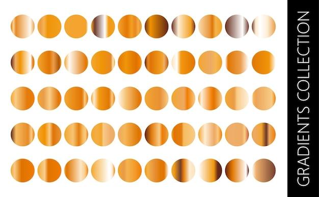 Conjunto de coleção gradiente de metal dourado e textura de folha de ouro
