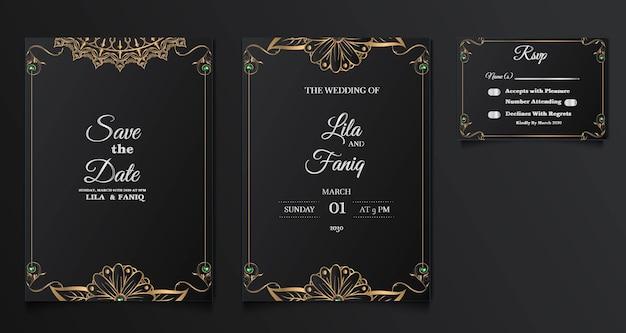 Conjunto de coleção lindo design de cartão de convite de casamento de luxo