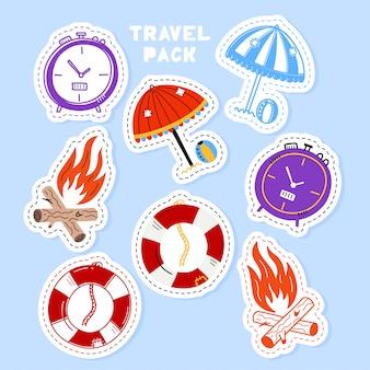 Conjunto de coleção manuscrita de adesivos de viagens em estilo cartoon.