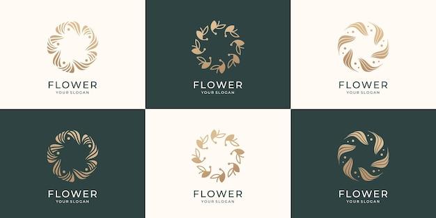 Conjunto de coleção modelo de logotipo de flor rosa abstrata conceito criativo design de logotipo de flor vetor premium