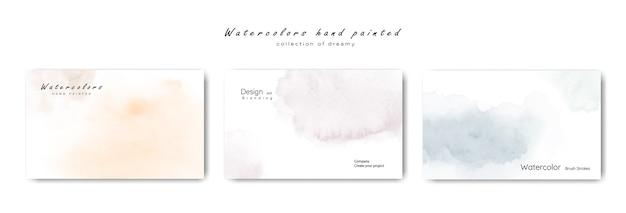 Conjunto de coleção pastel de pintados à mão aquarelas minimalistas criativos.