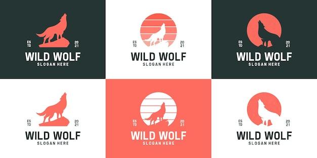 Conjunto de coleção simples de logotipo de lobo uivante