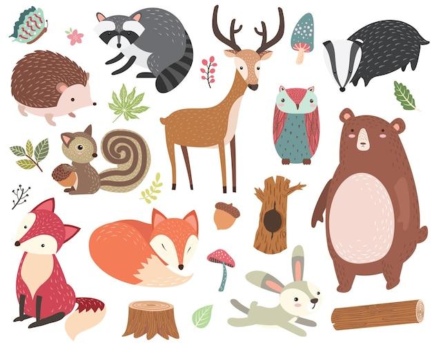 Conjunto de coleções de animais fofos da floresta