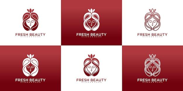 Conjunto de coleções de design de logotipo de mulher de beleza fresca com formas exclusivas de design de logotipo vektor premium