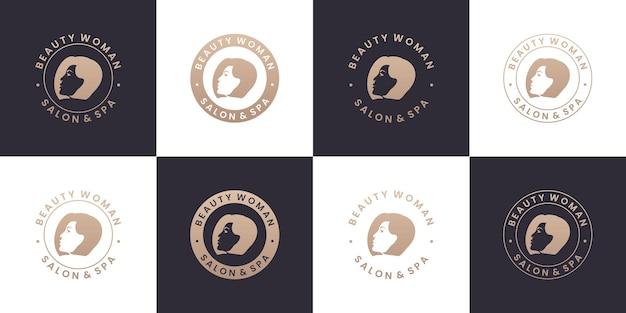 Conjunto de coleções de design de logotipo de salão de beleza e spa