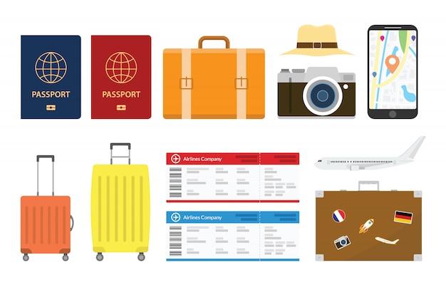 Conjunto de coleções de viagens ou férias com estilo moderno e plano, com várias formas e funções