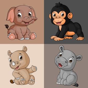 Conjunto de coleta animal bonito dos desenhos animados, mão desenhada, vetor