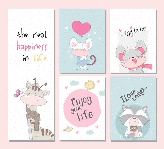 Conjunto de coleta bonito cartões de animais com rato de guaxinim girafa