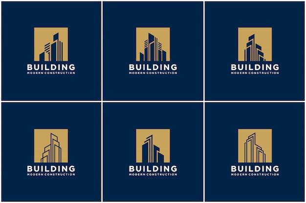 Conjunto de coleta construção logotipo construção pacote construção.