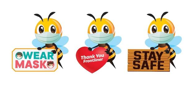 Conjunto de coleta de abelhas segurando sinalização de conscientização pública para prevenir o coronavírus