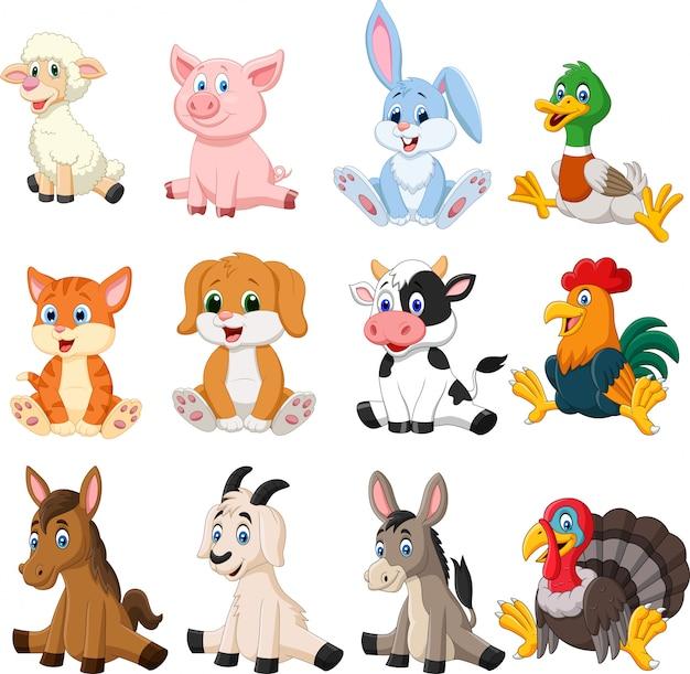 Conjunto de coleta de animais de fazenda