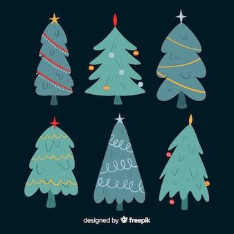 Conjunto de coleta de árvore de natal de mão desenhada
