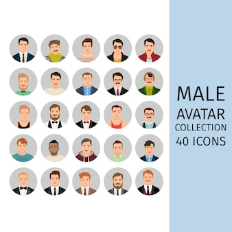 Conjunto de coleta de avatar masculino