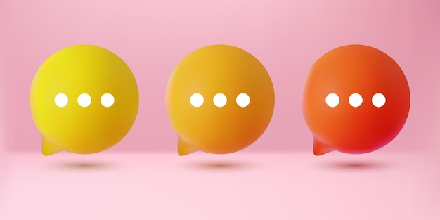 Conjunto de coleta de bate-papo com bolha 3d amarelo laranja fofa isolado