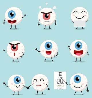 Conjunto de coleta de bola de olho dos desenhos animados