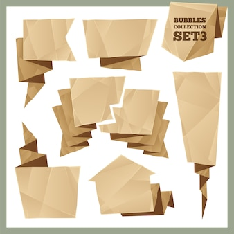 Conjunto de coleta de bolhas de discurso de papel amassado