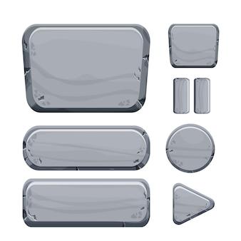 Conjunto de coleta de botões de pedra de ativos de rocha em estilo cartoon, isolado no fundo branco