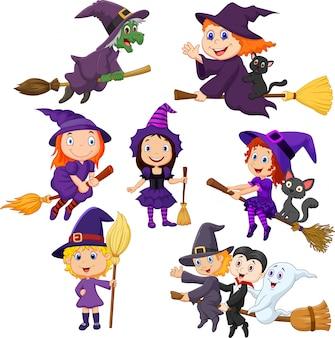 Conjunto de coleta de bruxas jovens halloween