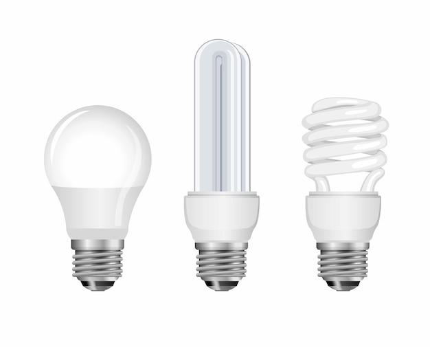 Conjunto de coleta de bulp de néon. lâmpada, lâmpada espiral e lâmpada inteligente, economizador de energia. conceito na ilustração realista em fundo branco