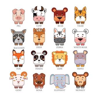 Conjunto de coleta de cabeça de animais fofos de desenhos animados