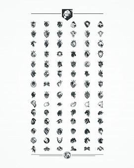 Conjunto de coleta de cabeça de leão, logotipo, ícone, vetor