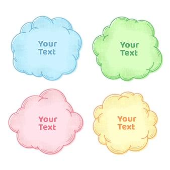 Conjunto de coleta de caixas de texto de balões de fala e pensamento com meio-tom vecto