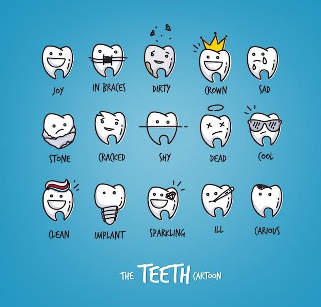 Conjunto de coleta de caracteres dentes feliz para seu projeto.