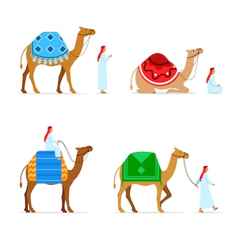 Conjunto de coleta de caracteres plana de camelo rider