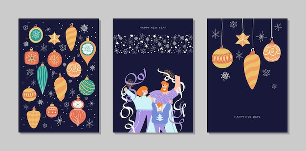 Conjunto de coleta de cartões de feliz natal e feliz ano novo