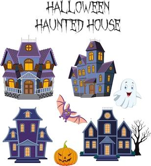 Conjunto de coleta de casa assombrada de halloween