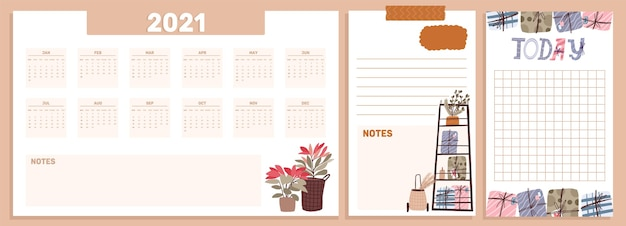 Conjunto de coleta de celebração do feriado do calendário de natal 2021, diário, notas