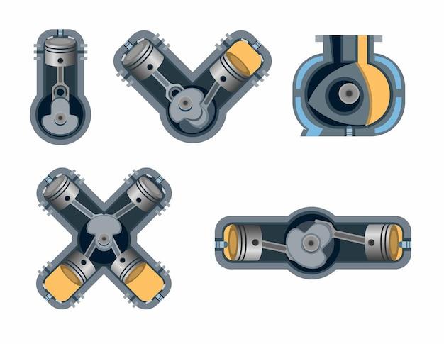 Conjunto de coleta de combustão do motor de carro. motor inline, rotary, boxer v e x em raio x
