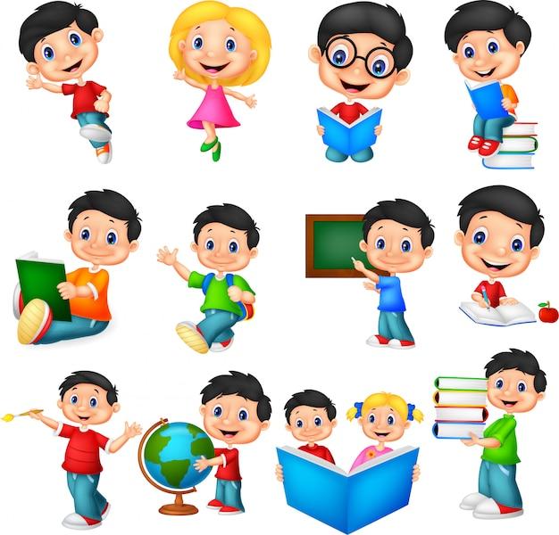 Conjunto de coleta de crianças em idade escolar dos desenhos animados