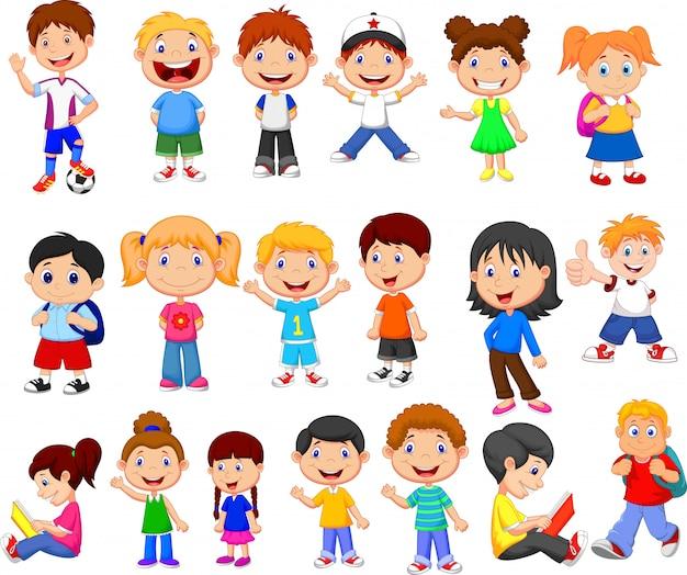 Conjunto de coleta de crianças felizes dos desenhos animados