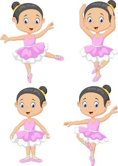 Conjunto de coleta de dançarina de balé de menina pequena