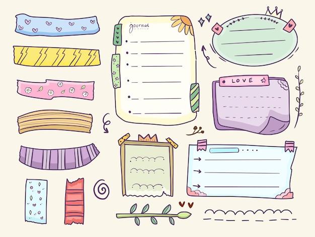 Conjunto de coleta de desenho de cronograma de notas coloridas e notas de diário