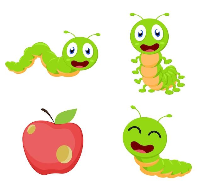 Conjunto de coleta de desenhos animados bonitos dos desenhos animados de caterpillar