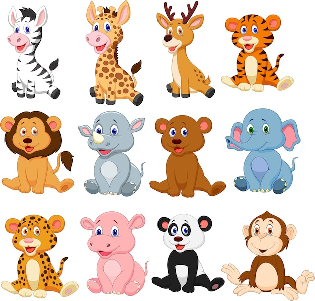 Conjunto de coleta de desenhos animados de animais selvagens