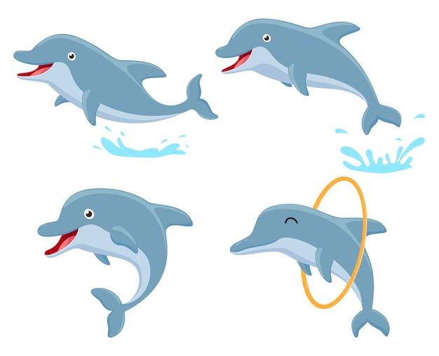 Conjunto de coleta de desenhos animados de golfinho fofo