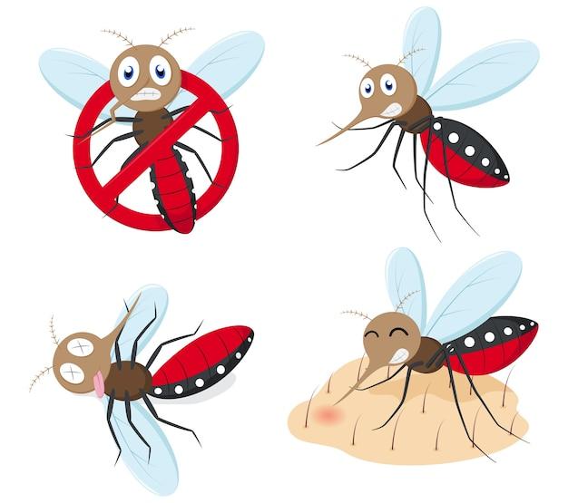 Conjunto de coleta de desenhos animados de mosquito