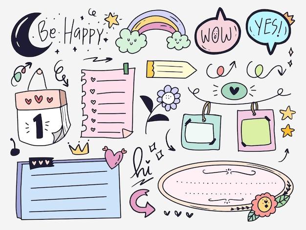 Conjunto de coleta de desenhos de desenhos de planejador e diário com marcadores coloridos