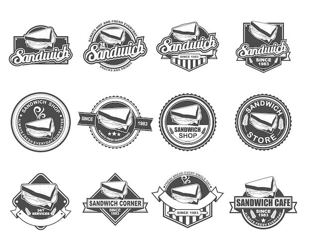 Conjunto de coleta de design de distintivo de vetor para loja de sanduíche