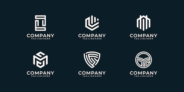 Conjunto de coleta de design de logotipo abstrato